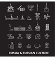 russia editable line icons set on black vector image vector image
