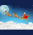 santa claus rides reindeer sleigh flying in sky vector image