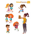 set happy joyful cartoon kids in motion and vector image