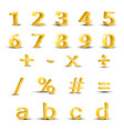 set of golden numbers vector image