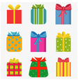 Set of nine colorful of different gift boxes vector image vector image