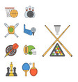 set of sport icons in flat design line pictograph vector image vector image