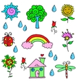 Spring item doodles vector image vector image