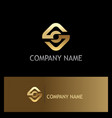 square round connection gold logo vector image
