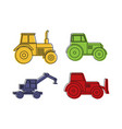 tractor icon set color outline style vector image vector image