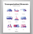 transportation elements gradient pack vector image