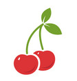 two cherries with leaves flat icon isolated on vector image vector image