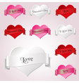 white red and pink valentine hearths and ribbon vector image vector image
