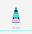 winter holidays fir tree in ethnic style vector image vector image