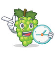 with clock green grapes character cartoon vector image vector image
