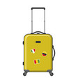 yellow suitcase isolated vector image vector image
