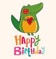 Happy birthday crocodile design vector image