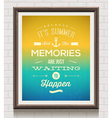 Vintage poster with summer vacation quote vector image
