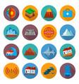 earthquake damage icon set vector image