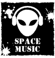 alien space music logo on black background vector image