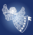 angel with a trumpet template for laser cutting vector image