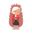 angry old woman flat cartoon vector image vector image