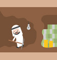 arab businessman and pickaxe give up for money vector image vector image