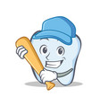 baseball tooth character cartoon style vector image vector image