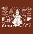 beautiful warli painting in form and lord ganesha vector image vector image