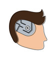 bionic human head artificial intelligence related vector image vector image