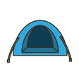 blue dome tent hiking forest camping vector image vector image