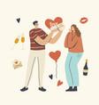 boyfriend giving present to girlfriend happy vector image vector image