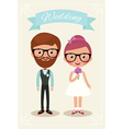 Bride and groom hipsters vector image vector image