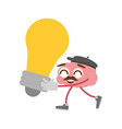 cartoon brain creativity vector image vector image