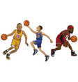 cartoon of basketball players in set vector image vector image