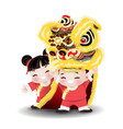 children playing chinese lion dance vector image