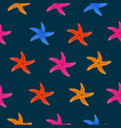 color starfish on blue background vector image vector image