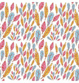 Colorful doodle feathers creative seamless pattern vector image vector image