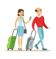 couple with suitcases traveling family traveling vector image vector image