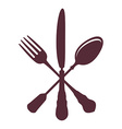 Crossed Spoon with Fork and knife isolated on vector image vector image