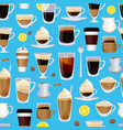 cups filled with coffee pattern or vector image