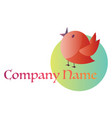 cute round red bird logo design on white vector image vector image