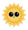 cute yellow sun on white background vector image