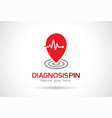 diagnosis pin logo template design emblem vector image vector image