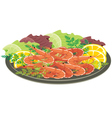 Dish from shrimps and vegetables vector image vector image