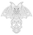 entangle stylized bat seating on sugar skull vector image vector image