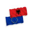 flags european union and albania on a white