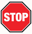 floor sign stop sign with black border vector image vector image