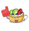 foam finger fruit tart mascot cartoon vector image
