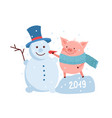 funny card design with cartoon pig and snowman vector image vector image