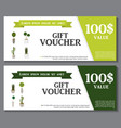 Gift Voucher Template with Green Plant in vector image