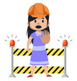 girl on a working construction on white vector image