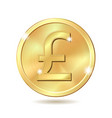 golden coin with pound sterling sign vector image vector image