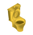 Golden toilet isolated wc for rich on white