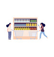 grocery store shelf women with carts food and vector image vector image